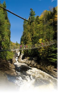 Canyon St Anne: on the way to Montmorency Falls in Quebec, Canada.  Canyon Ste-Anne is well located, only 30 minutes from Quebec   City, towards the Montmorency falls, and only 5 minutes from the  Sainte-Anne-de-Beaupre Shrine and the Mont Sainte-Anne ski   resort. The entrance is situated directly on Route 138 East,   towards Charlevoix, the Le Massif ski resort, and the whale   watching cruise area.