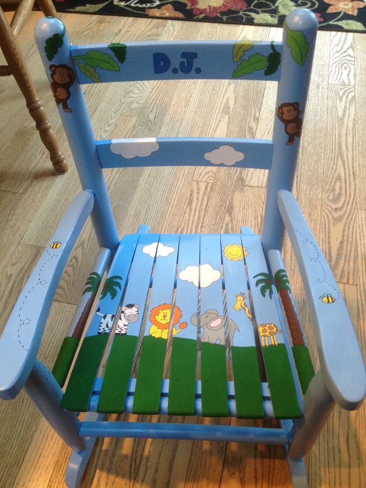 Jungle Theme Rocking Chair Kids Rocking Chair Painting