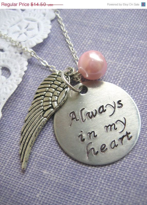 Loss, Miscarriage, Infant, Pregnancy Loss,Remembrance Necklace. Always In My heart Handstamped Charm, Angel Wing Glass Pearl Birthmonth. via Etsy