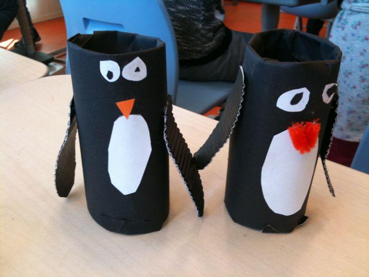 Pinguïn van wc rol