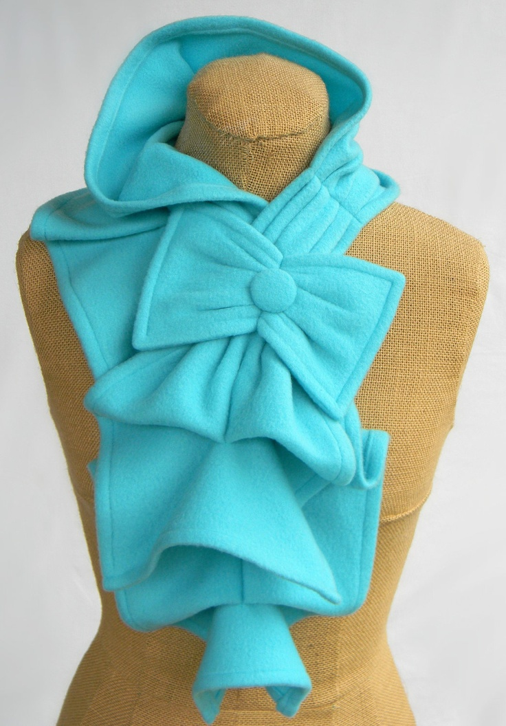 Fleece Ruffled Bow Scarf - Turquoise.Bow Scarf, Crafts Clothing, Winter Wardrobes, Ruffles Bows, Fleece Ruffles, Pink And Black Fleece, Bows Scarf, Scarf Turquoise, Cutest Scarf