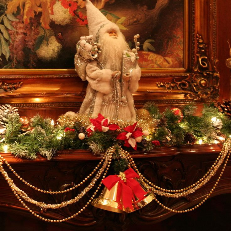 Wonderful Brightening Green Garland And Portray Frames As Decorate Fantastic Mantel Christmas Ideas And Bells Decors