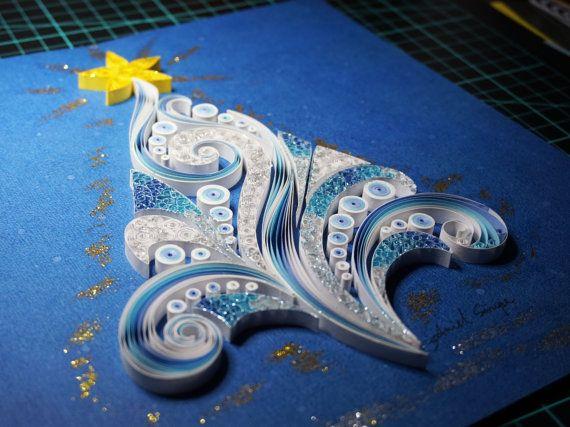 Fatto a mano carta quilling albero di Natale, incorniciato in scatola di ombra, regalo di Natale, arte della parete