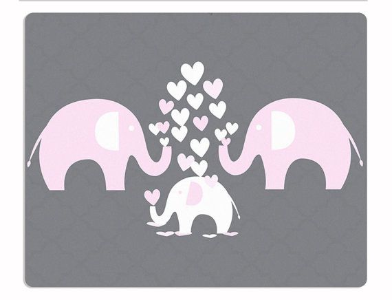Elephant Nursery Rug Elephant Rug Pink Elephant by HawkerPeddler