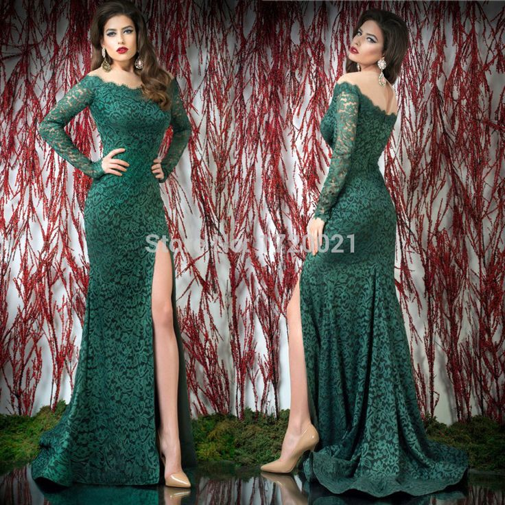 Вечерние платья новая вечерние платья зеленые босоножки аппликации off-плечи бато кружева с длинным рукавом русалка суд поезд