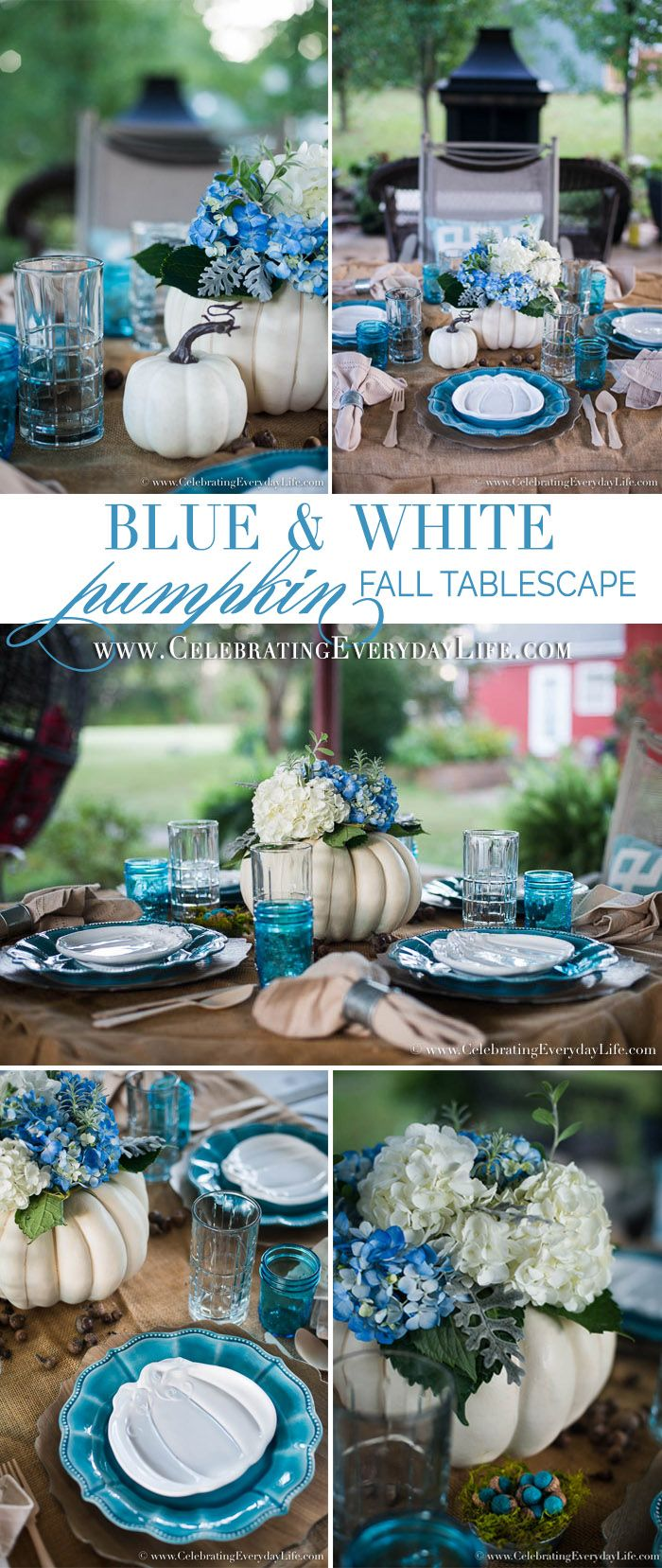 Put a fresh twist on traditional Thanksgiving Table Decorations with this Blue & White Pumpkin Fall Tablescape! It has Farmhouse Thanksgiving style!