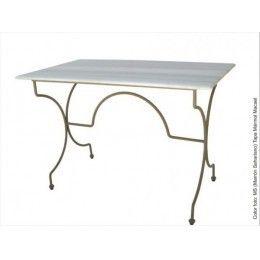 Mesa con estructura de forja y tapa a elegir entre mármol macaelo madera mdf