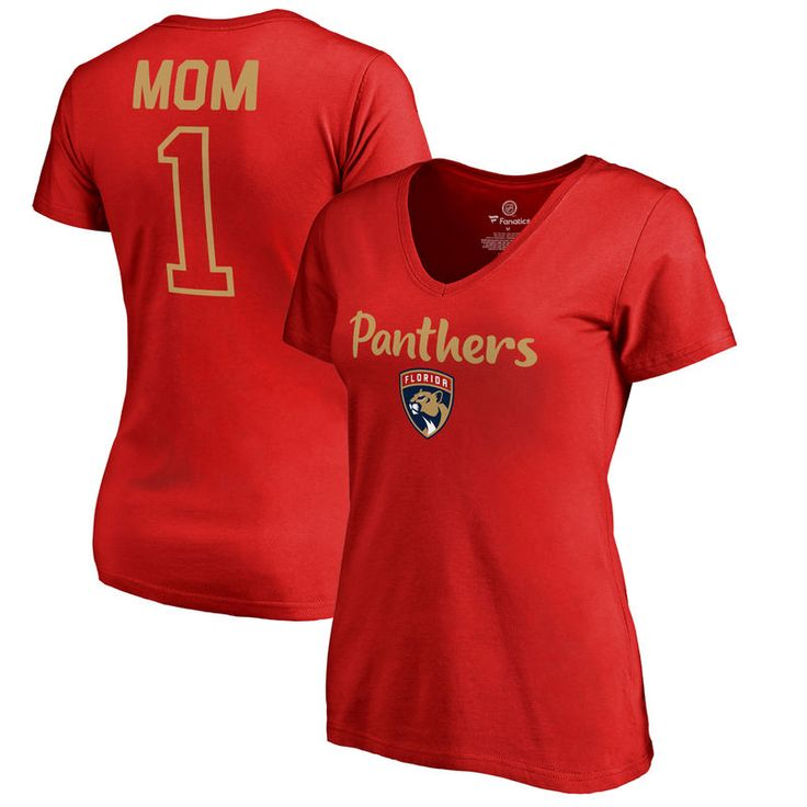 Florida Panthers Fanatics Branded Women's Plus Sizes Number 1 Mom T-Shirt - Red