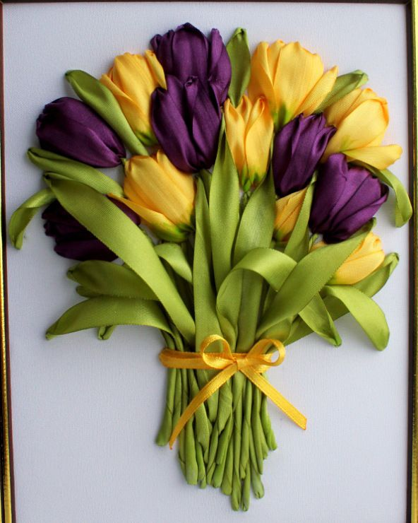 Purple and yellow tulips #ribbonEmbroidery