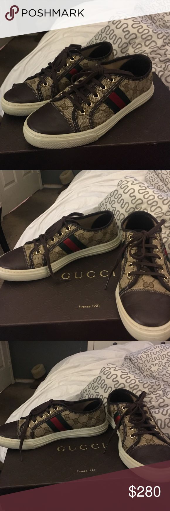 Women's Gucci low top sneakers. Gucci low top sneakers. With logo all over. Size 36. Worn a couple of times. Great condition, very clean. Just bottom of shoe looks like it's been worn. Otherwise looks good as new. Willing to negotiate. Comes with box and dust bag. Gucci Shoes Sneakers