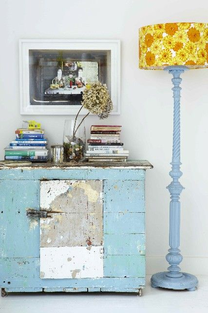 paint that hideous lamp in the office, add new lampshade