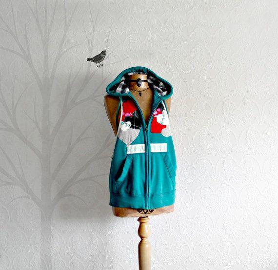 Teal Blue Women's Hoodie Sleeveless Jacket by BrokenGhostClothing,