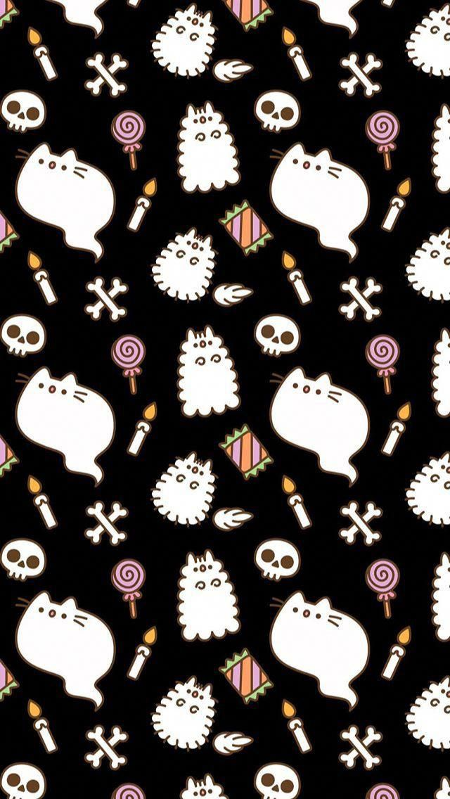 Pusheen Pusheencat Halloween Spookyseason Ghost Cat Candy Phone Background Wallpaper Iphone Spooky Halloween Wallpaper Cat Wallpaper Pusheen Cute