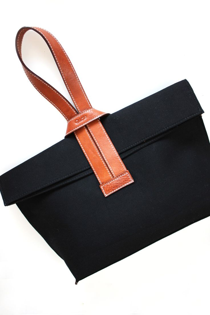 The CrissCross Bag by Quote leather n canvas Black