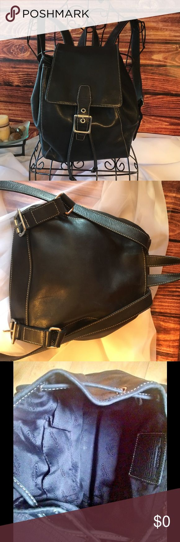 """Coach Legacy Leather Backpack in Black Style No 9569 in EXCELLENT condition. Soft & Supple Black Leather w/ White Contrast Stitching,  Front Buckle Flap with Hidden Magnetic & Drawstring Closure, Silver/Nickel Hardware, Fully Lined, Long Adjustable Back Straps, Coach dust bag included with purchase. Approx measurement: 8"""" (L) 10"""" (H) 4 1/2"""" (W) Coach Bags Backpacks"""