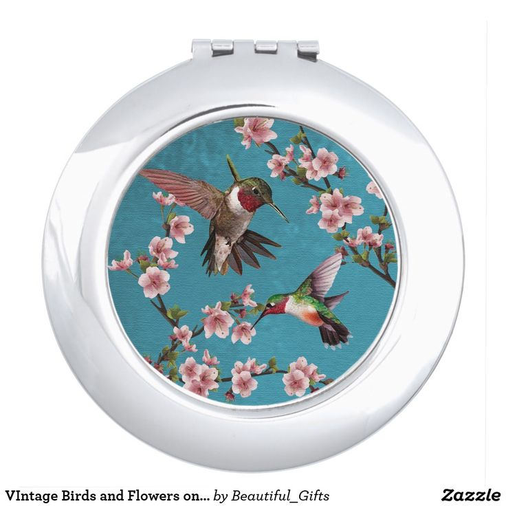 VIntage Birds and Flowers on Blue Makeup Mirror