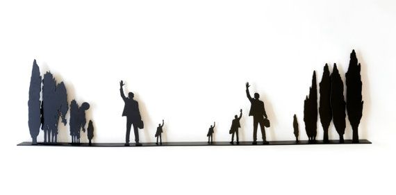 Metal Wall Sculpture, 3D Large Wall Art, Indoor Outdoor Metal Wall Hanging, Farewell 2, Uri Dushy, Israel