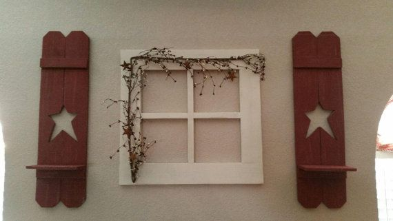 Primitive Wood Window With Star Shutters