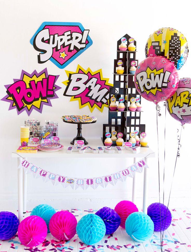 girl superhero party free printables