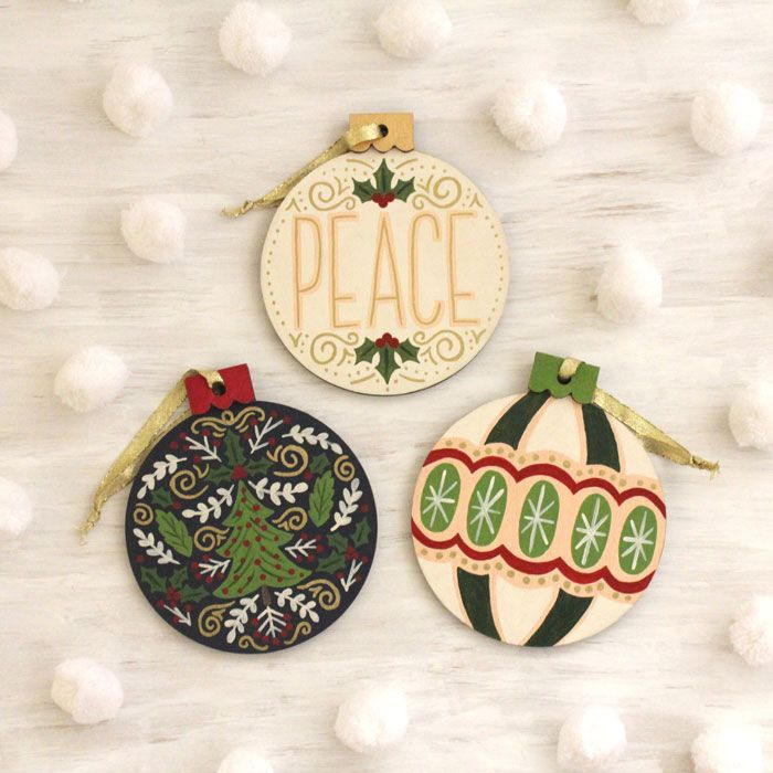 Hand Painted Folk Art Floral Hand Lettered Wood Christmas Ornaments With Acrylic Paint On Christmas Ornaments Wood Christmas Ornaments Hand Painted Ornaments