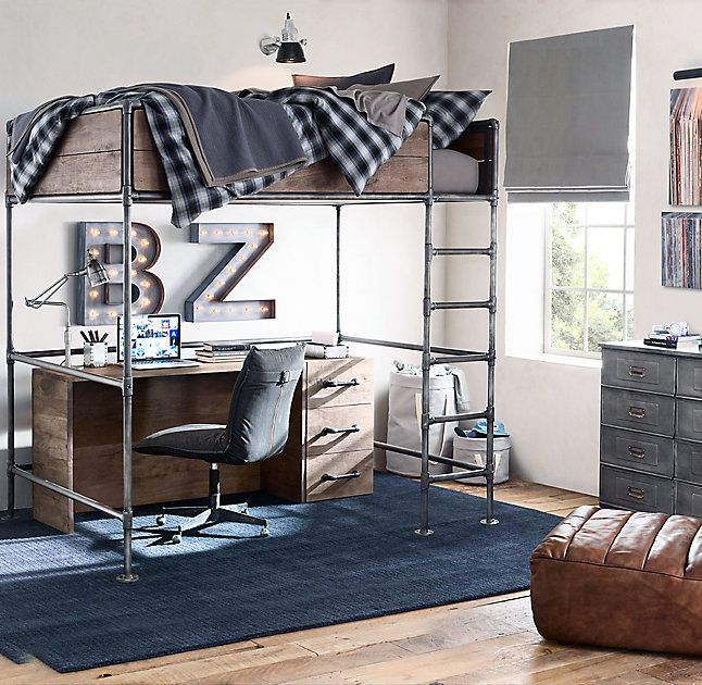 RH TEEN's Wylie Loft Bed:Roughly hewn wooden planks and steel pipes mix handsomely in our space-saving collection. An aged finish and gently worn edges enhance the raw, industrial appeal.
