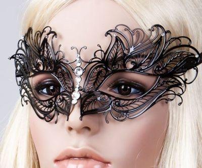 Black Venetian Mask Elegant Masquerade Mask Swarovski Authentic Butterfly Mask | eBay