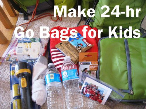 Make 24-Hour Go Bags for Your Kids - learning experience to do with kids that will help you in an emergency.