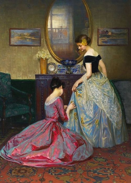 Viktor Schramm. Love the dresses and the way the light plays on them in the painting.
