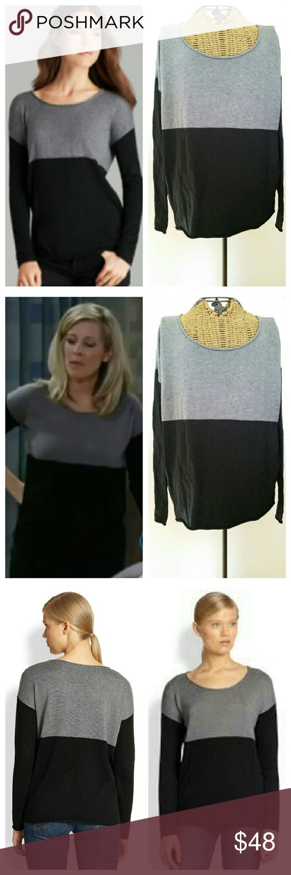 """SPLENDID colorblock cashmere blend sweater Beautiful sweater by Splendid  As seen on GH soap star  Sz L Viscose nylon poly cashmere...soft knit Rolled edge Scoop neckline Dropped shoulders Grey black color block Underarm to underarm 24"""" Underarm to sleeve end 18^"""" Top of shoulder to hem 26"""" Excellent condition Splendid Sweaters Crew & Scoop Necks"""