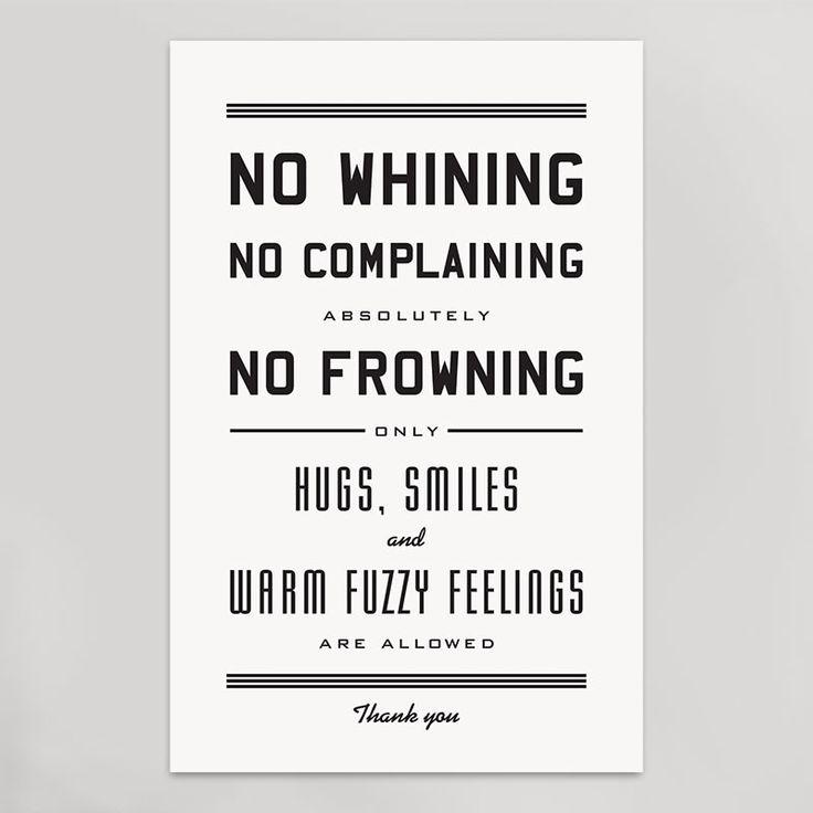 No Whining Print | HAMMERPRESS