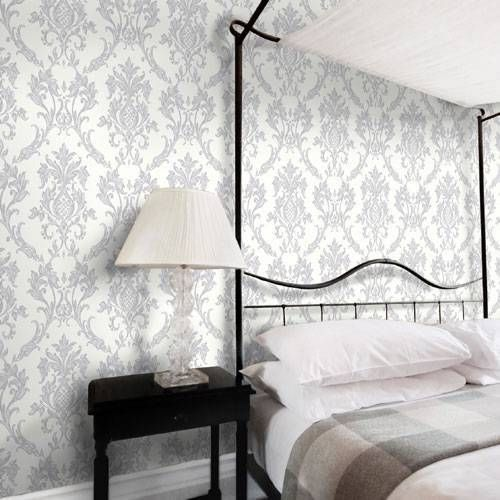 Platinum grey silver glitter m0733 rafaele damask for Dark grey bedroom wallpaper