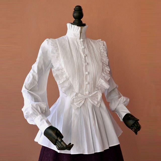 春の女性白いトップスヴィンテージビクトリア朝のフリルプリーツシャツランタンスリーブレディースゴシックブラウスロリータ衣装