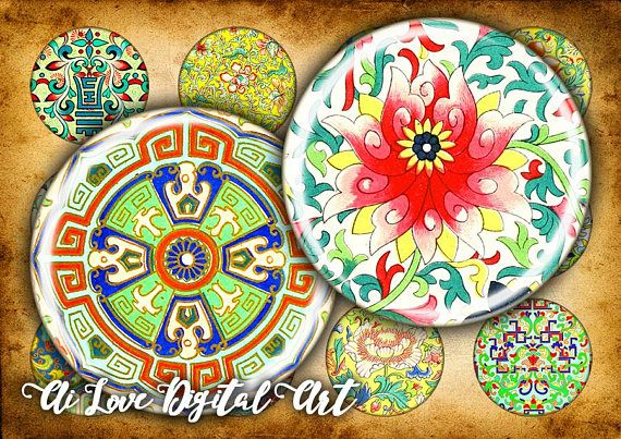 Chinese Motif digital collage sheet circle 1 inch, 30mm, 1.5 inch. #digitalcollagesheetscircles #bottlecapimages #chineseprintables