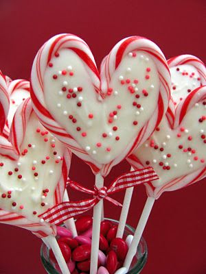 "Sweet Heart Valentine Pops  24 mini candy canes 12 6"" lollipop sticks 1 cup white candy coating Sprinkles"