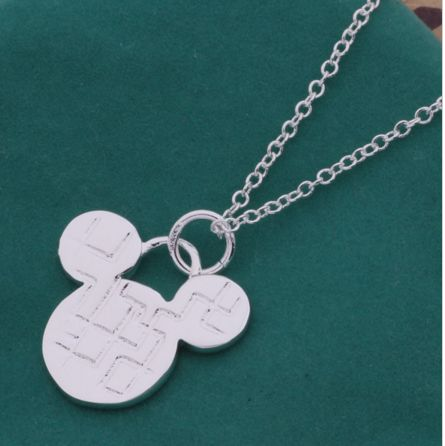 Classic Disney Mickey Mouse Head Necklace with Stainless Steel Chain