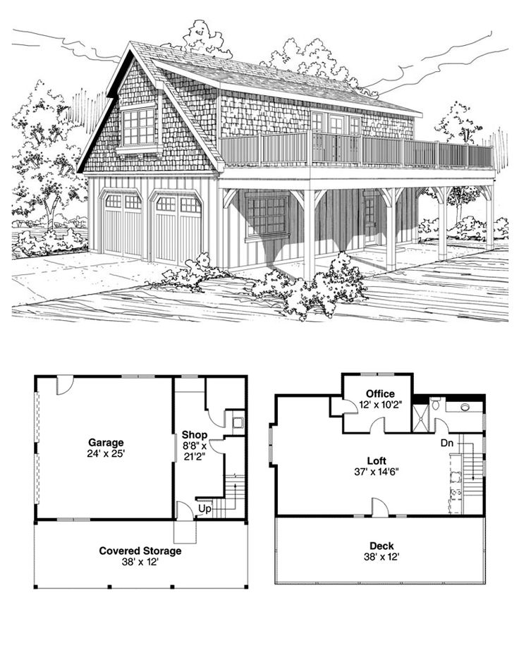 Garage Apartment Plan 59475 | Total Living Area: 838 sq ft. Upstairs is a loft that has space for a future counter with sink, range and refridgerator. Also upstairs is an office, bathroom and generous sized deck. #garageapartment #garageplan