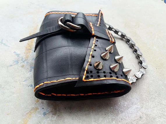inner tube purse / soft  industrial purse  with spikes / upcycled purse with bike chain handle
