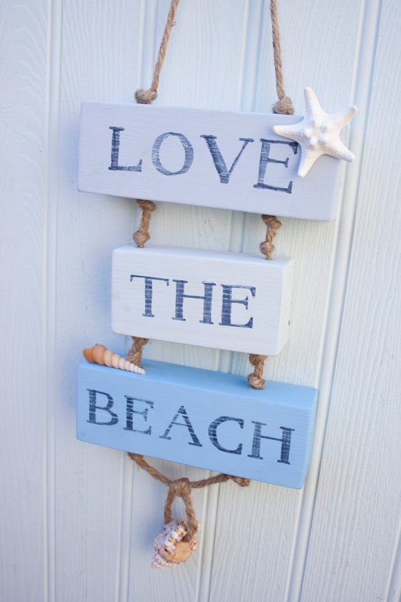 love the beach wooden sign beach decor surfer by driftwooddreaming - Beach Decorations