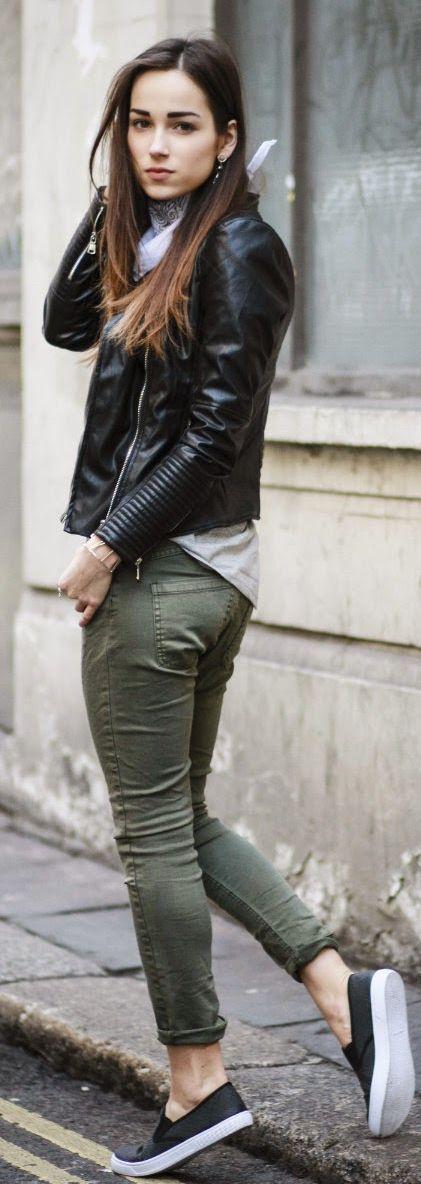 Army green skinnies, black leather jacket, grey tee, sneakers.                                                                                                                                                      More