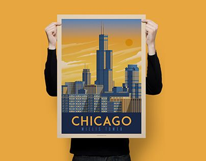 """Check out new work on my @Behance portfolio: """"CHICAGO Vintage Travel Poster"""" http://be.net/gallery/50965299/CHICAGO-Vintage-Travel-Poster"""