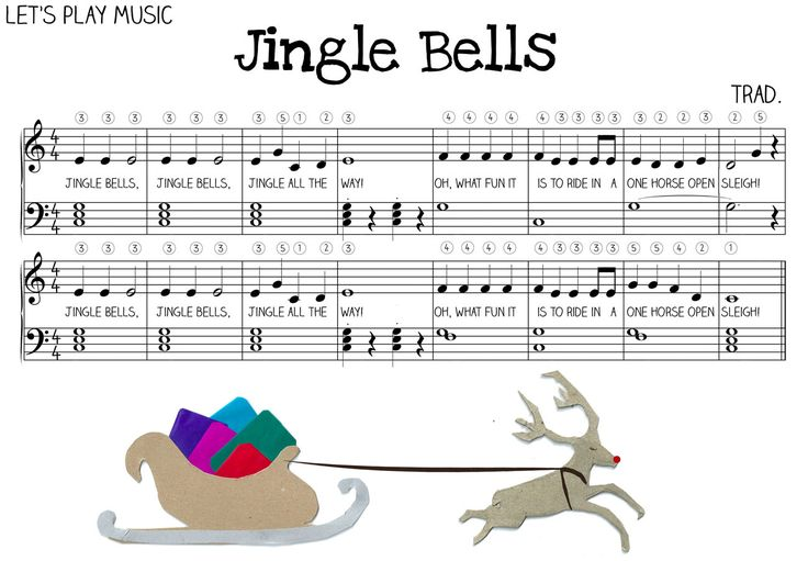 Free Jingle Bells Sheet Music for Kids! Includes lesson plan on how to teach Jingle Bells to kids - Let's Play Music