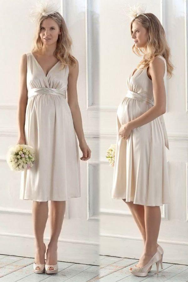 Schlichtes V Ausschnitt A Linie Knielang Band Satin Brautkleider für Schwangere Persunshop