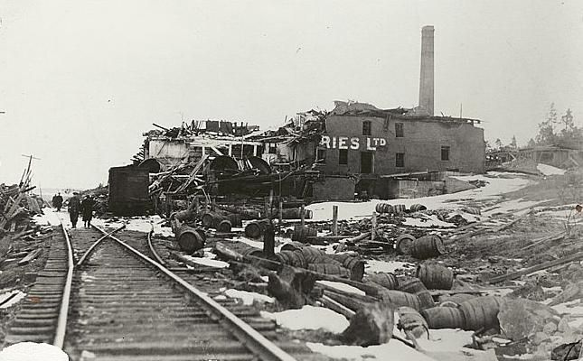 """City of Ruins: the Halifax explosion - Alan Mendelsohn 2003 -- """"About the collision of the Mont Blanc & the Imo in Halifax on December 6, 1917. The burning, munitions-laden Mont Blanc crashed into the shore, setting off an explosion which destroyed much of the city & many lives. It is considered the greatest man-made explosion until Hiroshima."""""""