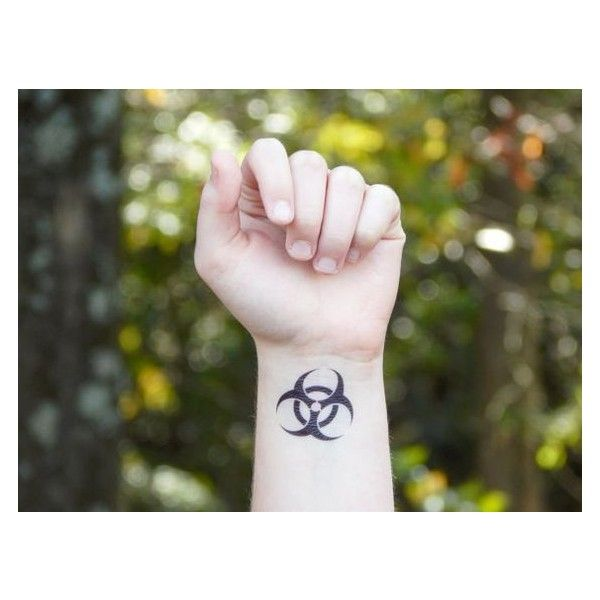 Temporary Tattoo Biohazard Symbol ❤ liked on Polyvore featuring accessories and body art