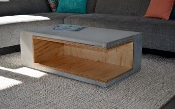 Concrete & Plywood Cantilevered Coffee Table - by Studio Fiveo3