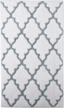 Ogie Bath Rug, White/Aqua - mediterranean - bath mats - Target