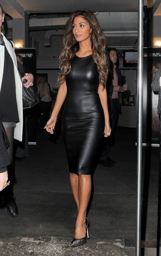 Nicole Scherzinger - Missguided Leather Pencil Dress