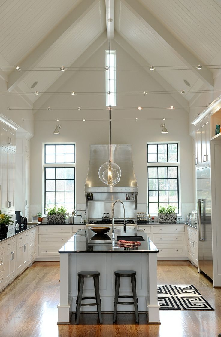 white kitchen, vaulted ceiling
