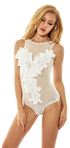 Women's Sexy Semi-sheer Jumpsuit lingerie(XXL,White) -- You can find more details by visiting the image link.