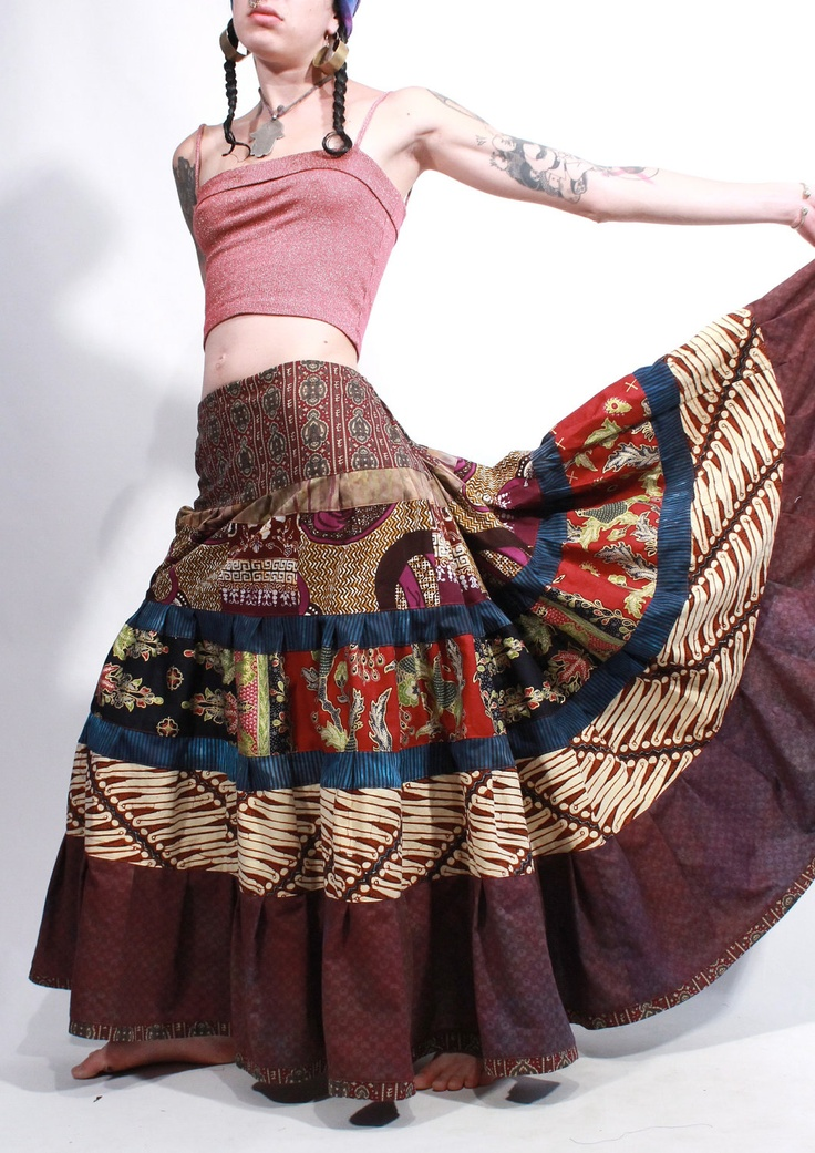 Love the skirt!!! Temple Indonesian batik patchwork tiered tribal maxi bustle skirt hippie gypsy
